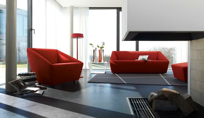 wohnzimmer farbe rot raum und m beldesign inspiration. Black Bedroom Furniture Sets. Home Design Ideas