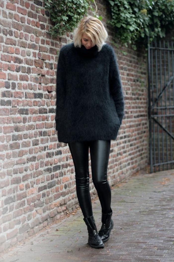 warmer-Pullover-Damen-schwarz-Lederhosen