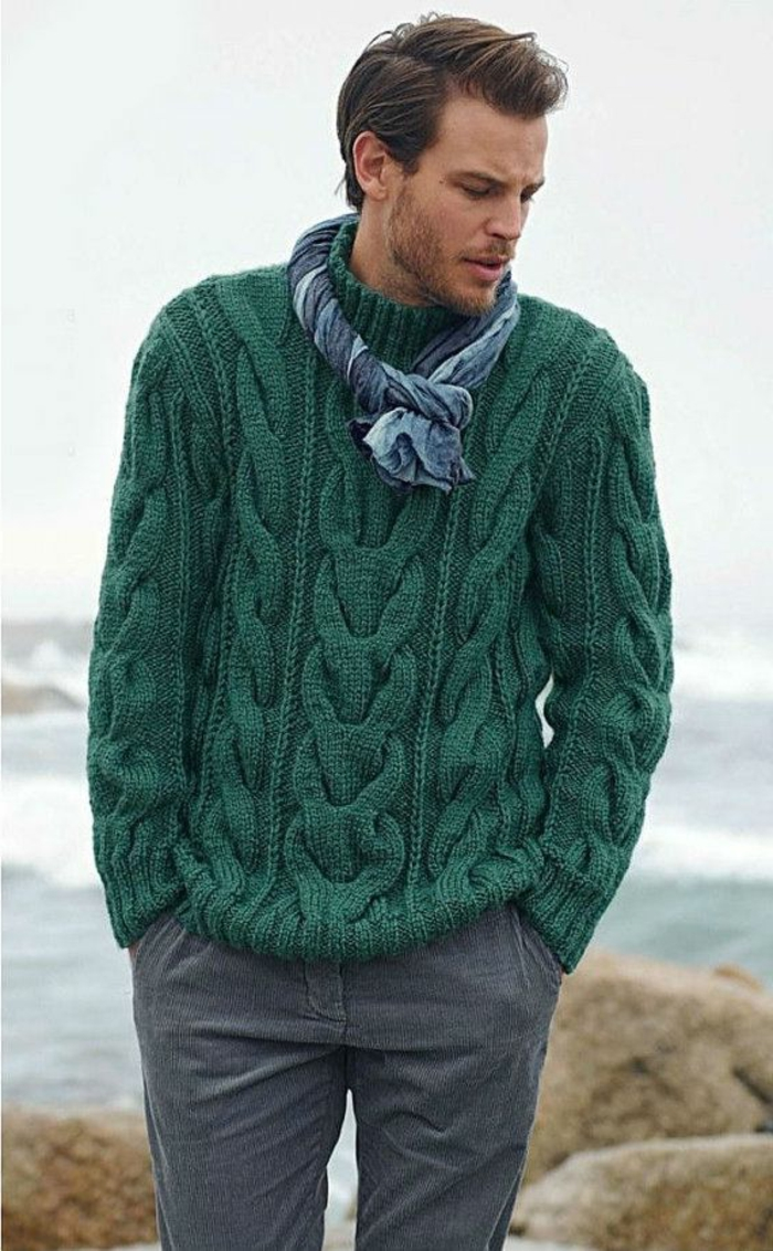 warmer-Winterpullover-Männer-grüne-Farbe-Halstuch