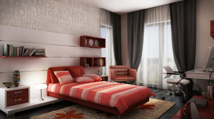 weiße-schlafzimmer-wandfarbe-bett-in-rot