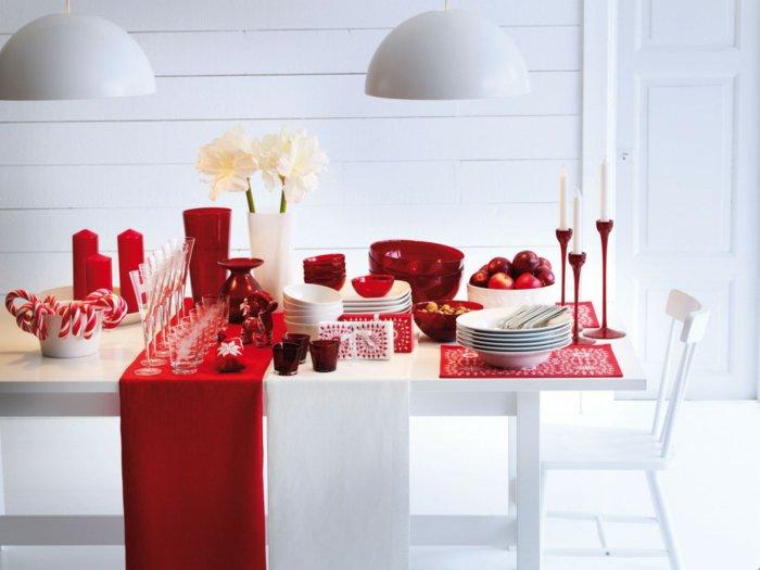 weihnachtsdekoration ideen tischdekoration rot kerzen souvenirs sigkeiten - Weihnachtsdeko Ideen