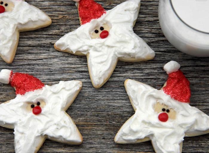 weihnachts kekse-dekoriert-weihnachtsmann-sterne