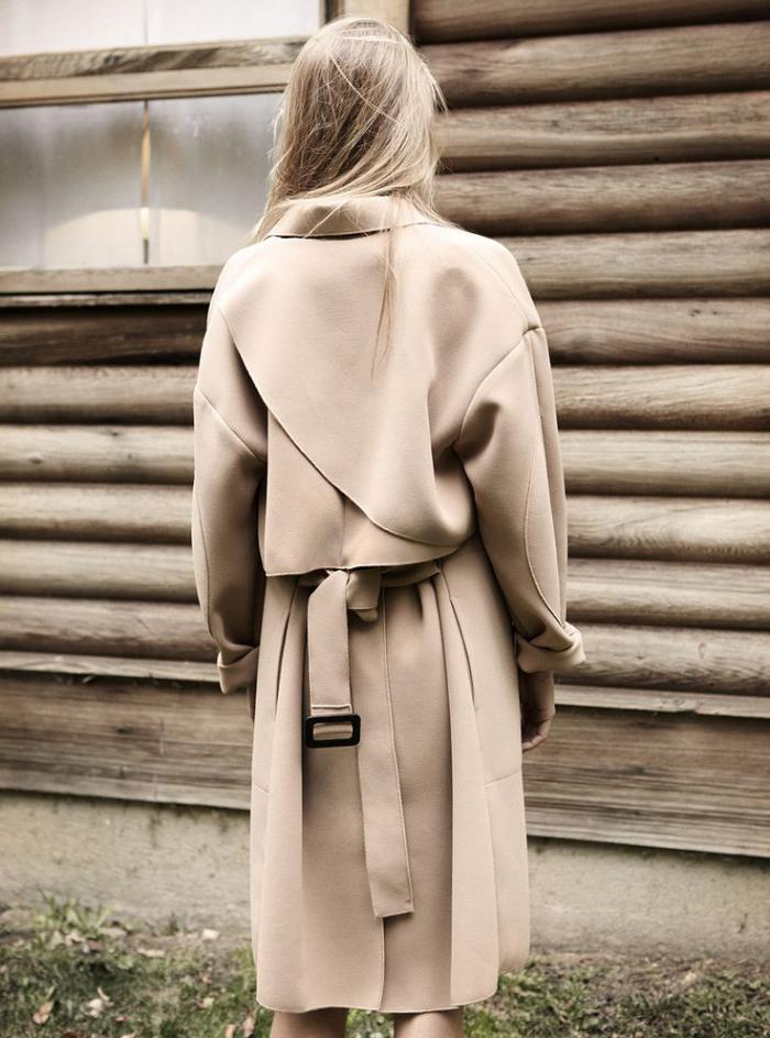 winterjacke-damen-Trench-Coat-Karamell-Farbe