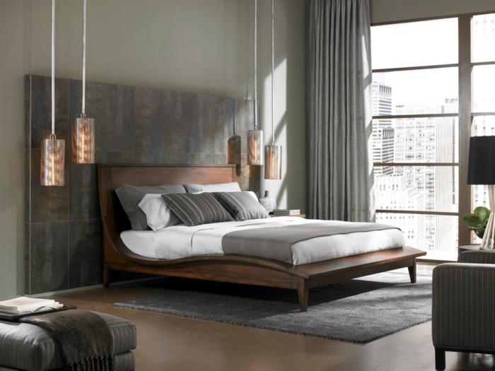 wohnidee-schlafzimmer-modernes-bett-design-hängende-lampen