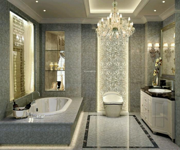 wohnung-einrichten-tipps-eleganter-lüster-im-badezimmer