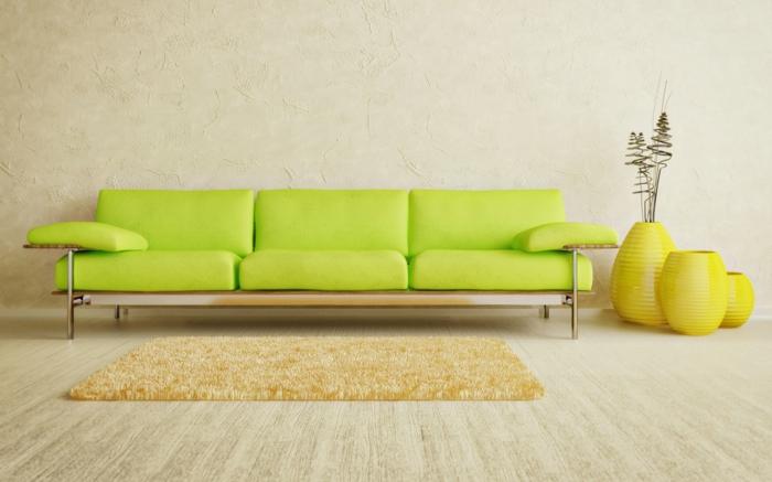 wohnzimmer-einrichten-ideen-grelles-sofa-in-grün