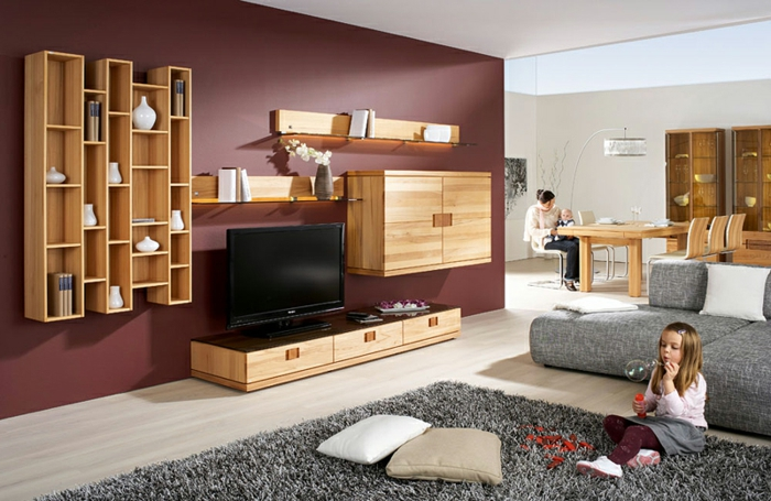 wohnzimmer graue wand. Black Bedroom Furniture Sets. Home Design Ideas
