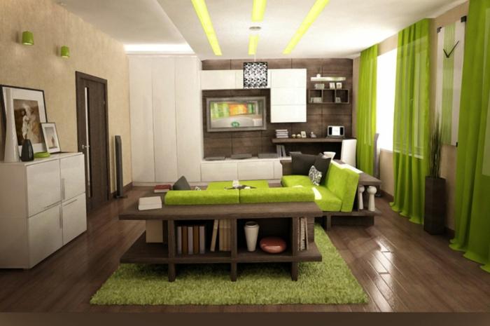 wohnzimmer ideen modern graue wnde als akzent - Wohnzimmer Modern Grau Grn