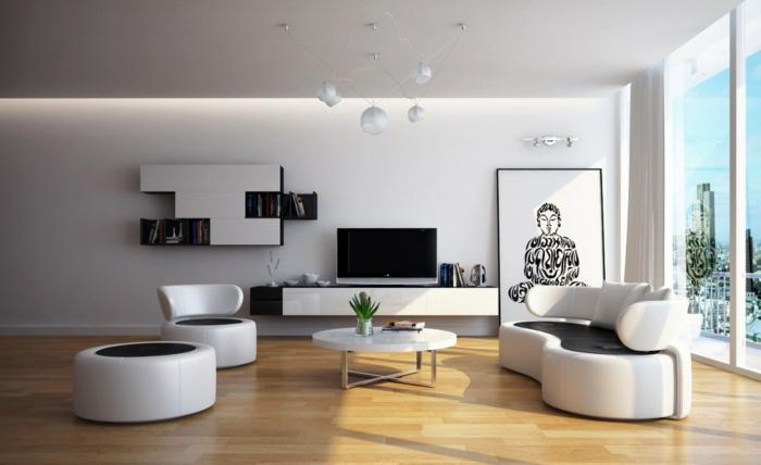wohnzimmer-inspirationen-weiße-wand-moderne-möbelstücke
