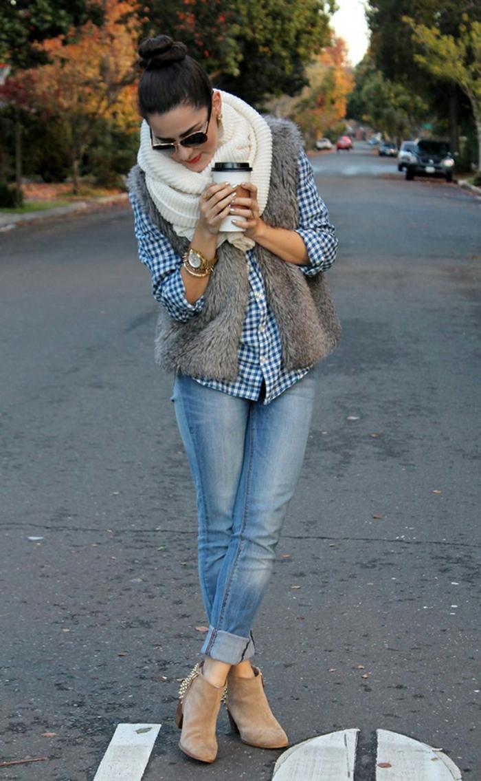 wunderschöne-Kleider-Kombination-Jeans-kariertes-Hemd-strickmuster-schal