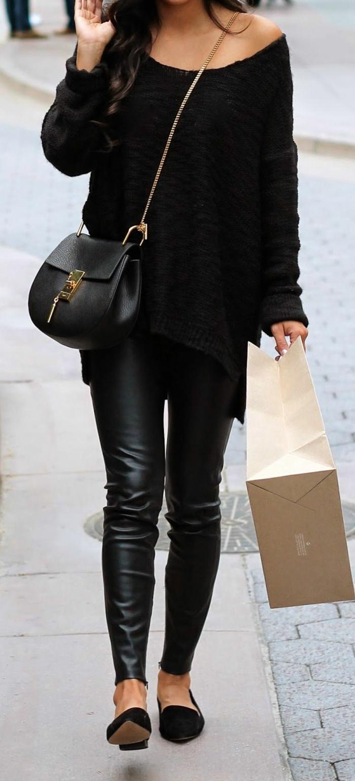 wunderschöner-Outfit-schwarzer-gestrickter-Pullover-Lederhosen