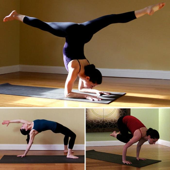 yoga-übungen-drei-verschiedene-positionen