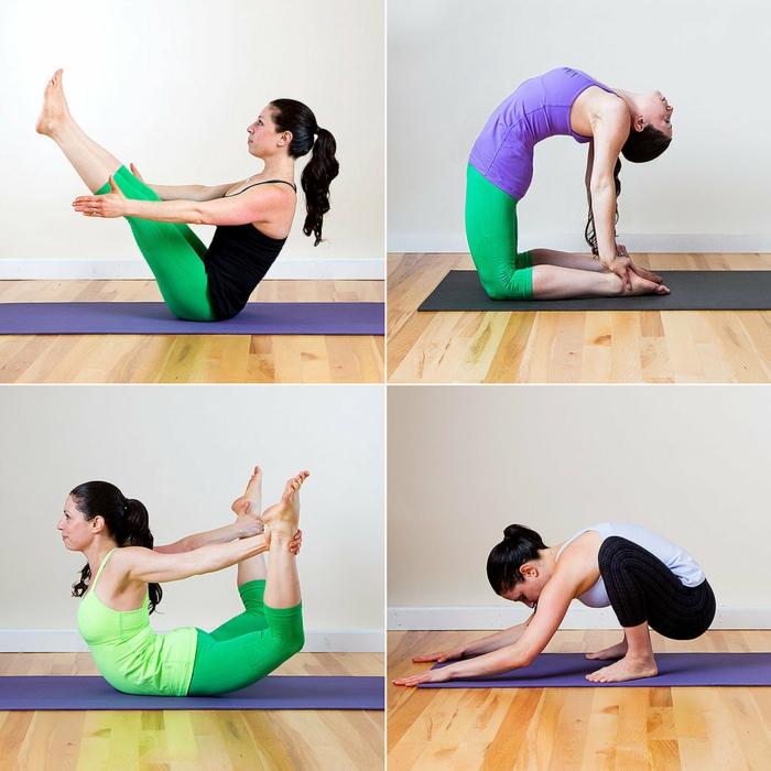 yoga-übungen-verschiedene-fotos-vier-stücke