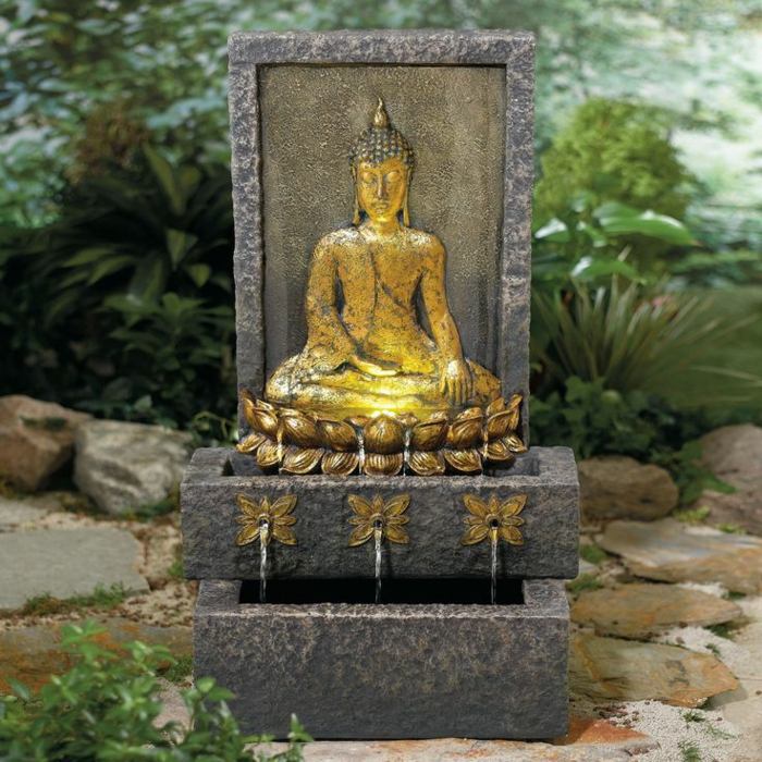 zimmerbrunnen mit buddha bringen sie w rme ins haus. Black Bedroom Furniture Sets. Home Design Ideas