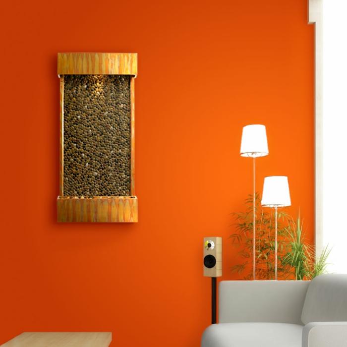 zimmerbrunnen mit wasserfall: 45 tolle designs! - archzine.net - Orange Wand Wohnzimmer
