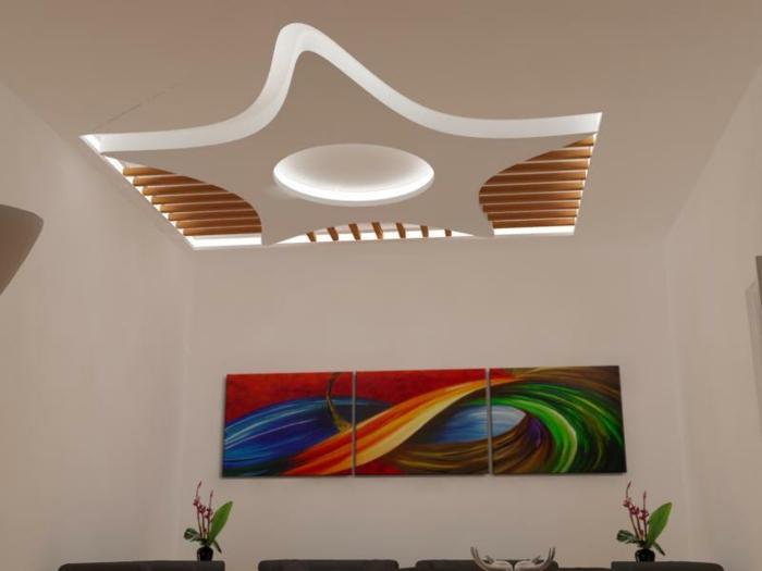 zimmerdecken-neu-gestalten-sehr-schöne-beleuchtung