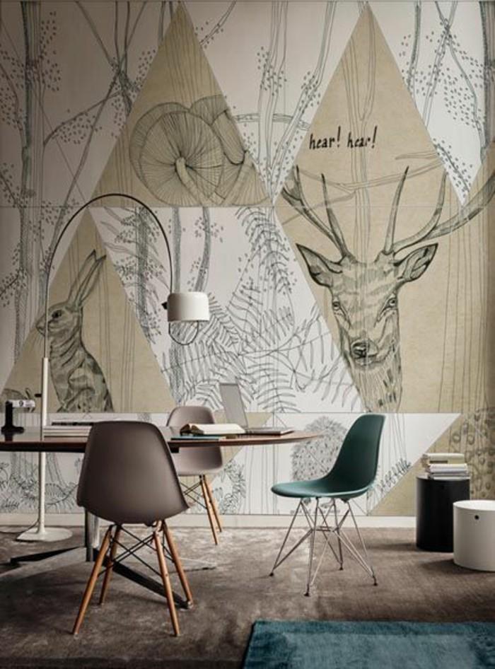 Arbeitszimmer-minimalistische-Einrichtung-graphisches-Tapeten-Muster-Waldtiere