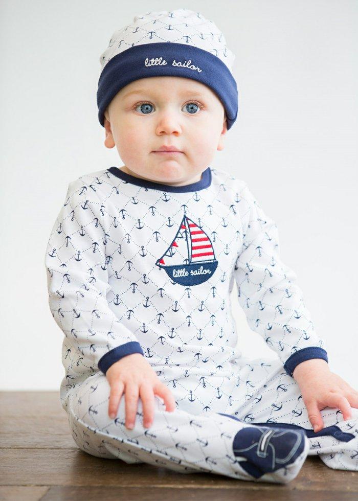 Baby-Schlafanzug-jungen-schlafanzug-Little-Sailor-mit-Hut