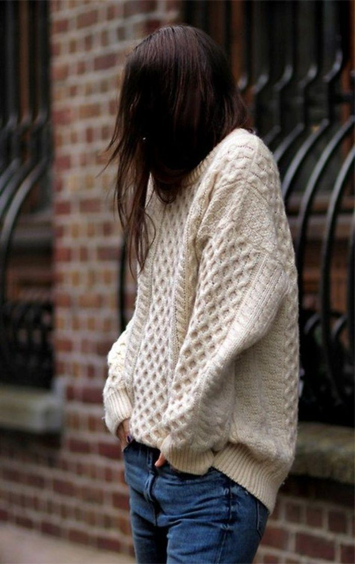Damen-Pullover-Creme-Farbe-irische-strickmuster-Jeans