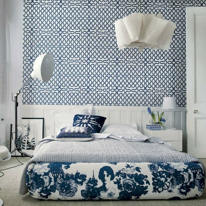 Elegante-Bettwäsche-blau-modernes-schlafzimmer