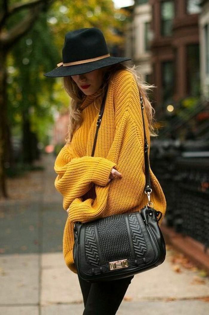Filzhüte-schwarz-elegant-design-damen-mode-gelb-pullover