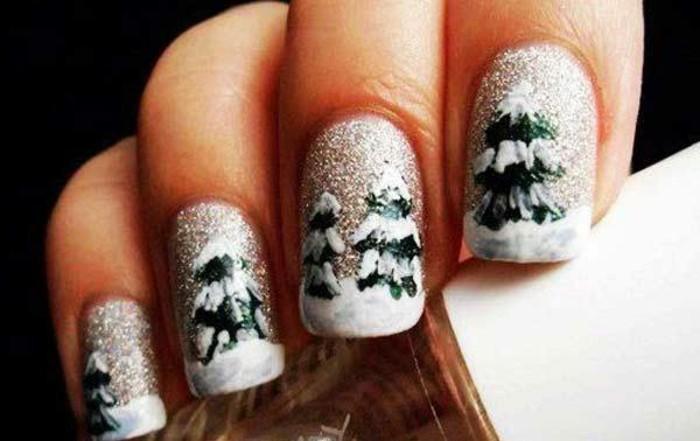 Gelnägel-weihnachten-schnee-und-bäume