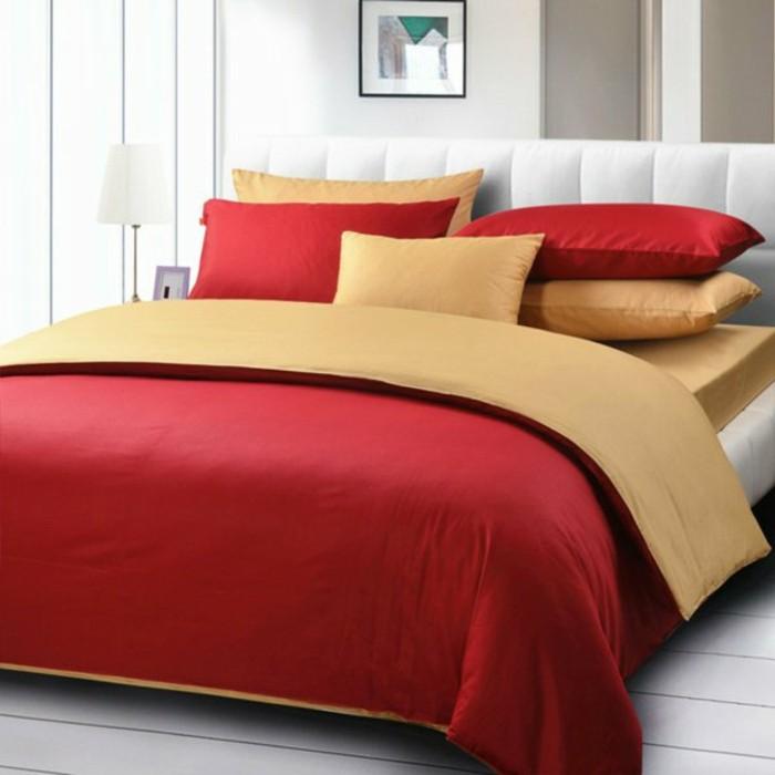 Moderne Bettwäsche Rot Gelb Minimalistisch