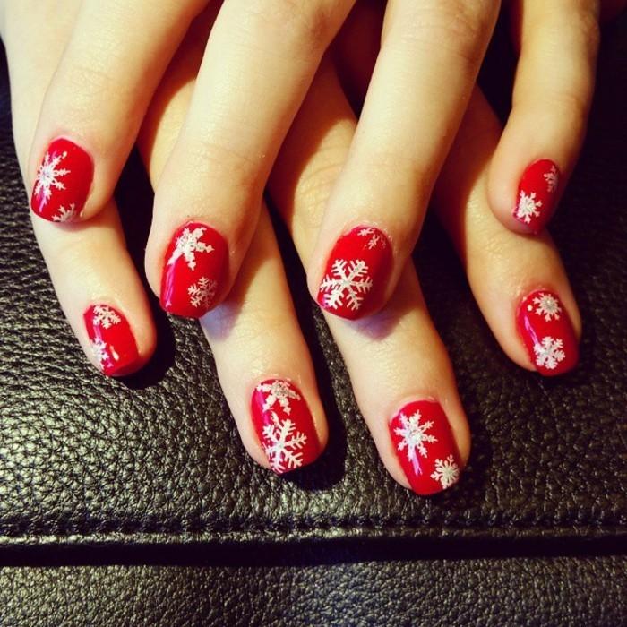 Nageldesign-bilder-für-weihnachten-rote-farbe