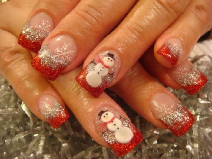 Nageldesign-galerie-weihnachten-mit-schneemann-und-rot-ranzösisch