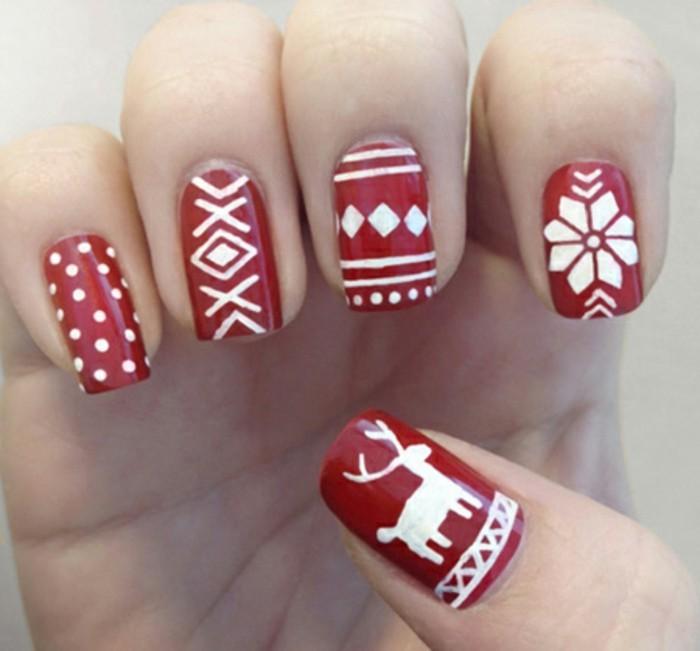 Nageldesign-galerie-weihnachten-rot-dekorative-weisse-motive