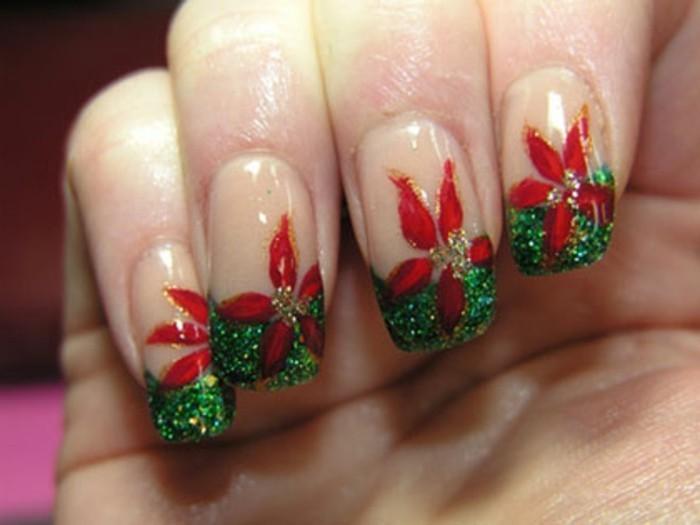 Nageldesign-weihnachten-rot-und-grün