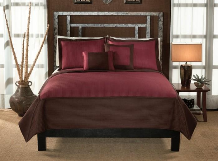 Satin-bettwäsche-rot-modern-schlafzimmer