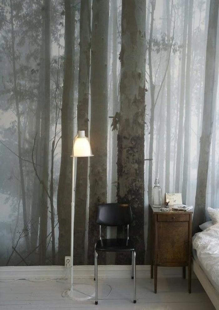 Schlafzimmer-interessantes-tapete-design-Natur-Wald-Bäume