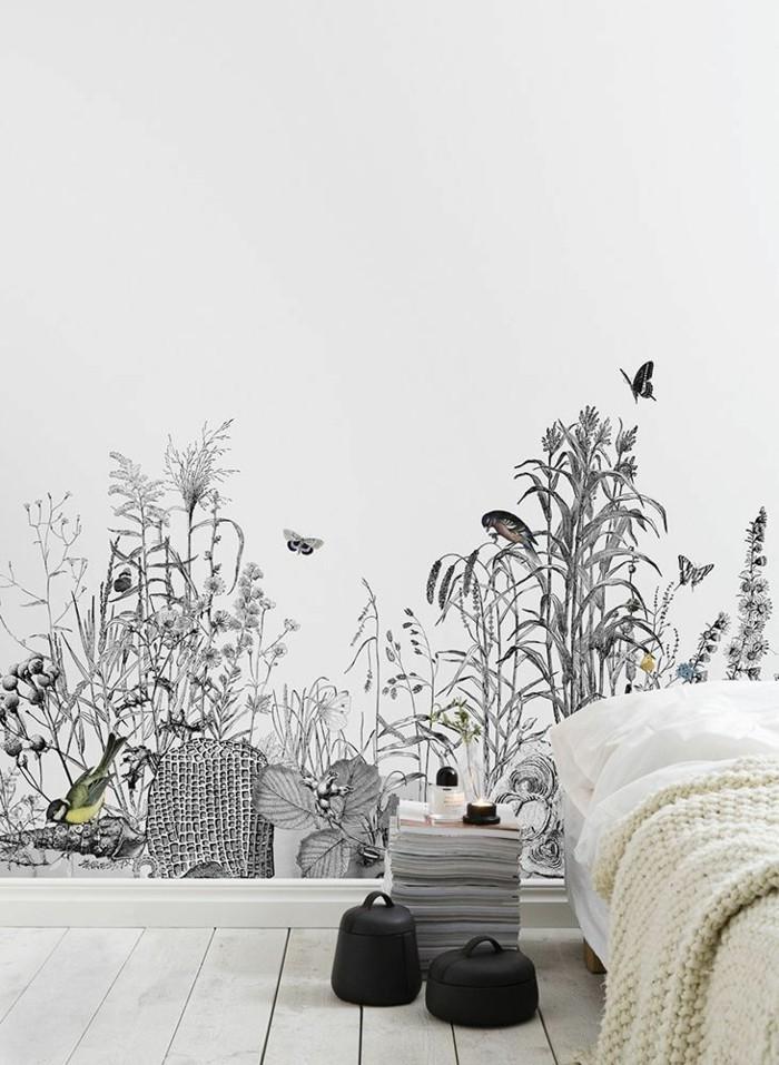 Schlafzimmer-mit-naturaler-Atmosphäre-schwarz-weiße-tapete-Naturbild