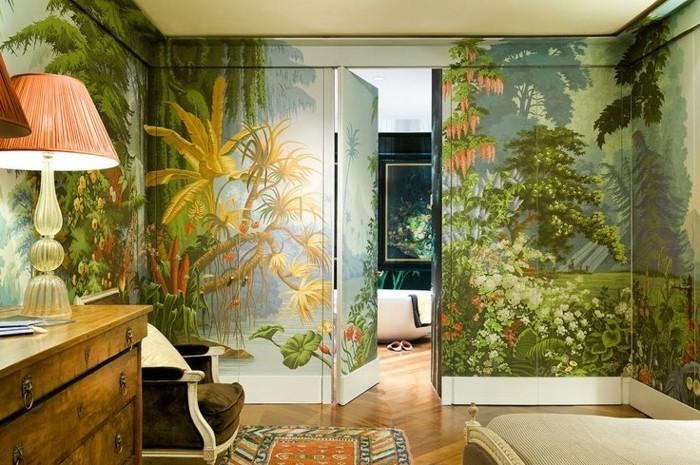 Schlafzimmer-vintage-Möbel-stylische-tapeten-mit-naturalem-Look