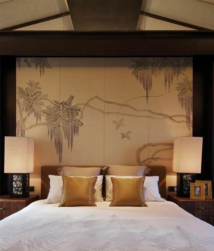 Schlafzimmer-wunderschönes-tapeten-design-asiatische-Motive
