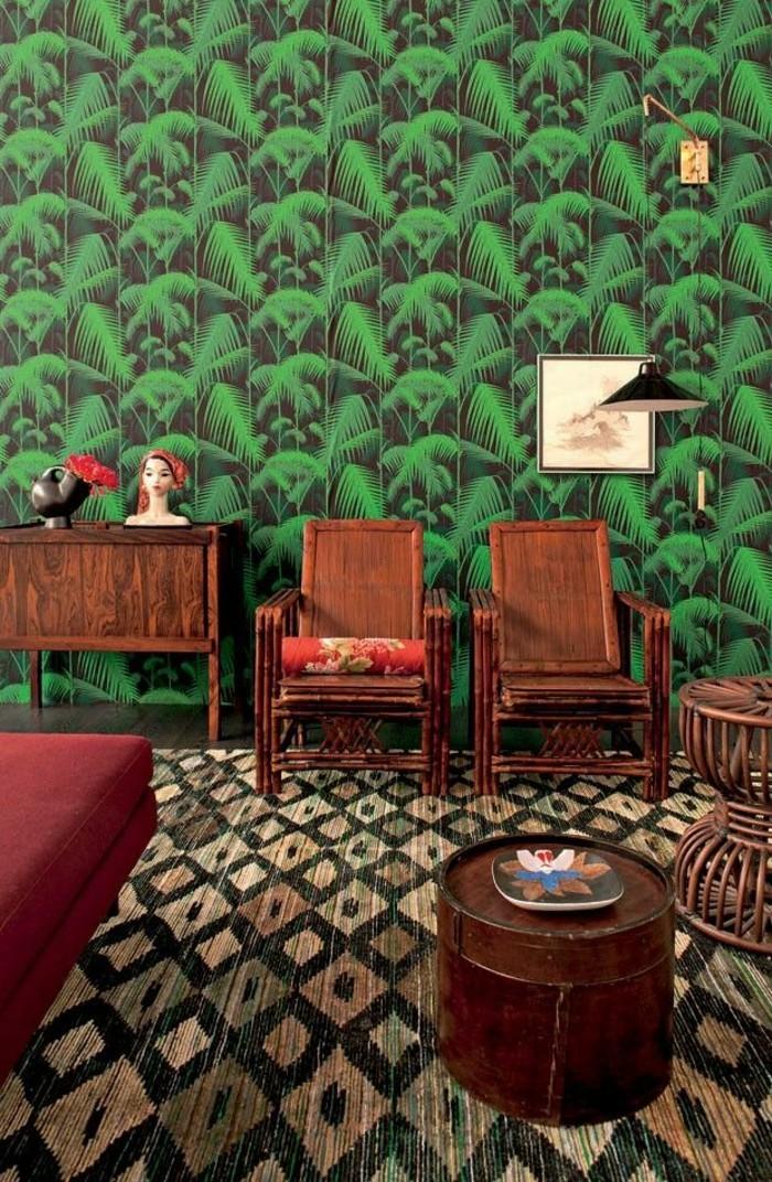 Zimmer-orientalische-Motive-außergewöhnliche-tapeten-Palmen-Blätter