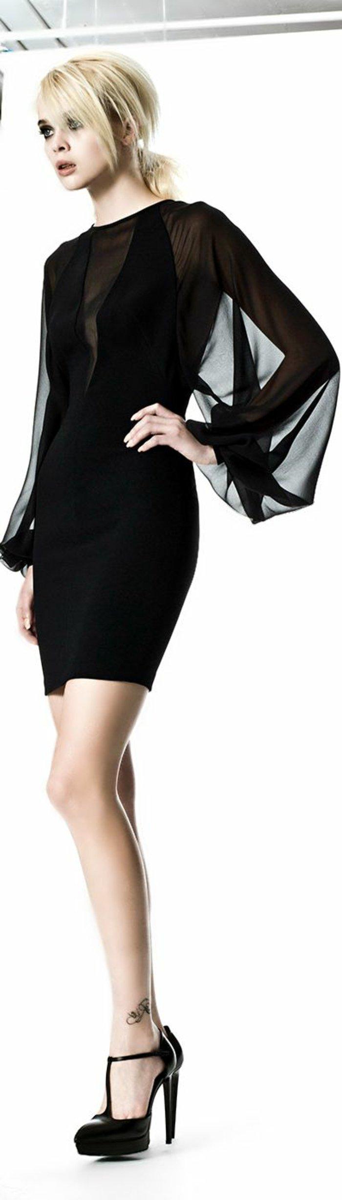 abendkleider-mit-ärmel-abendkleider-kurz-elegant-schwarz