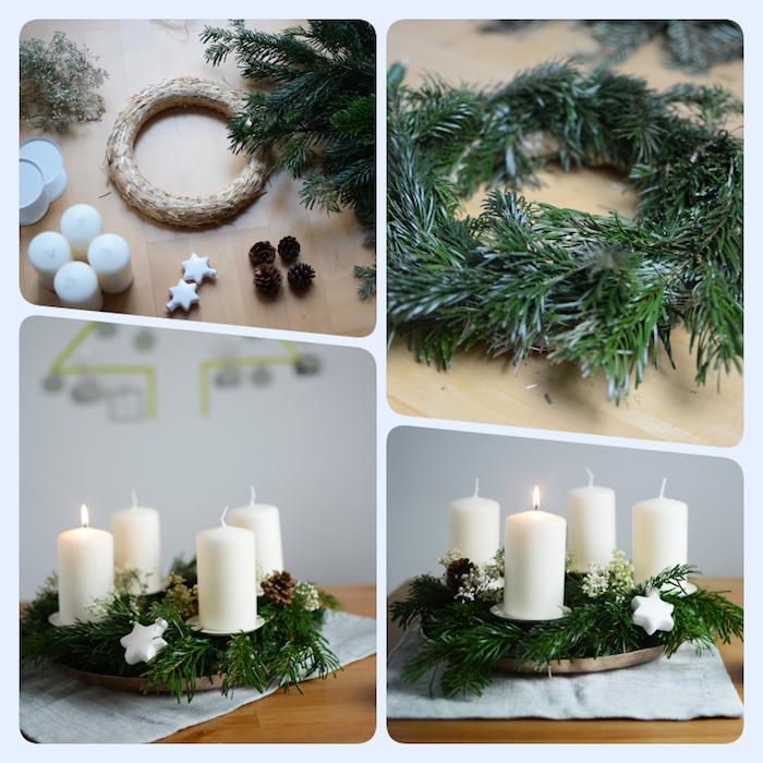Traditionellen Adventskranz selber machen, mit Tannenzweigen, weißen Kerzen und kleinen Sternen