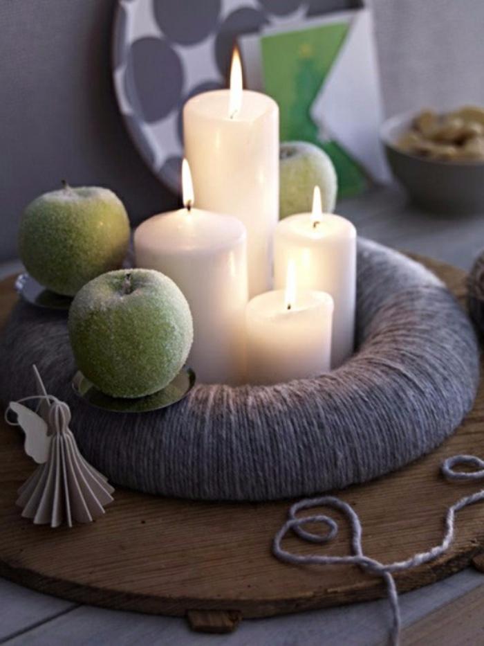 adventskranz-ideen-grüne-äpfel-weiße-kerzen