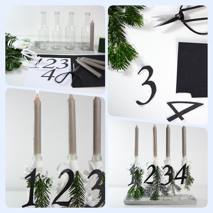 Alternative zum traditionellen Adventskranz, vier Kerzen in Flaschen stecken, Zahlen aus Papier ausschneiden, mit Tannenzweigen dekorieren