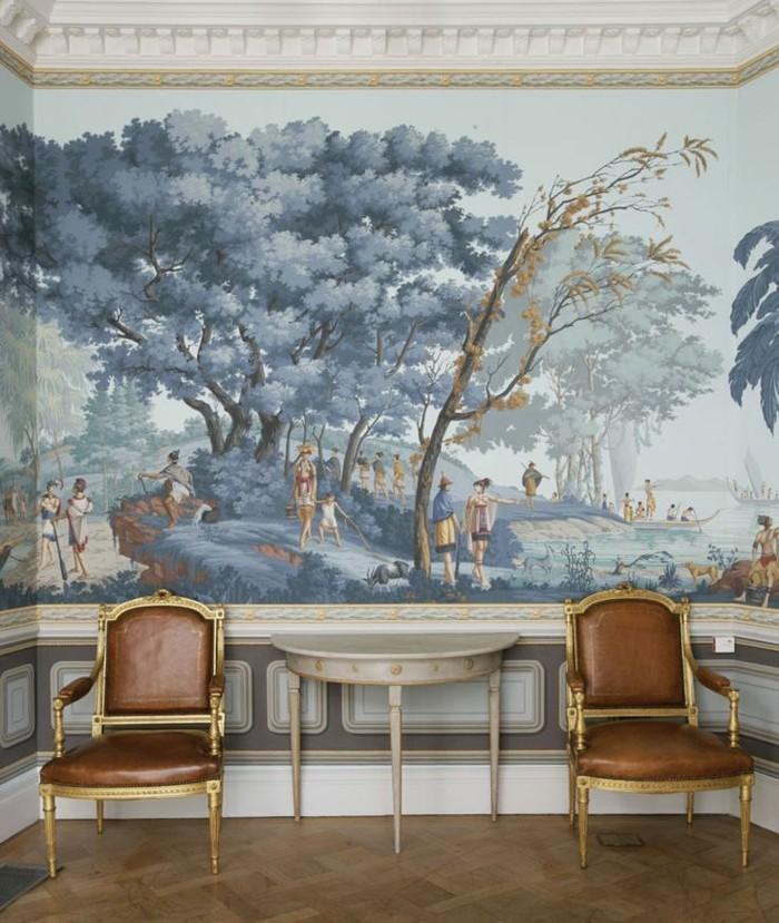aristokratisches-Zimmer-einzigartiges-tapeten-muster-historische-Motive-ausgefallene-Tapeten