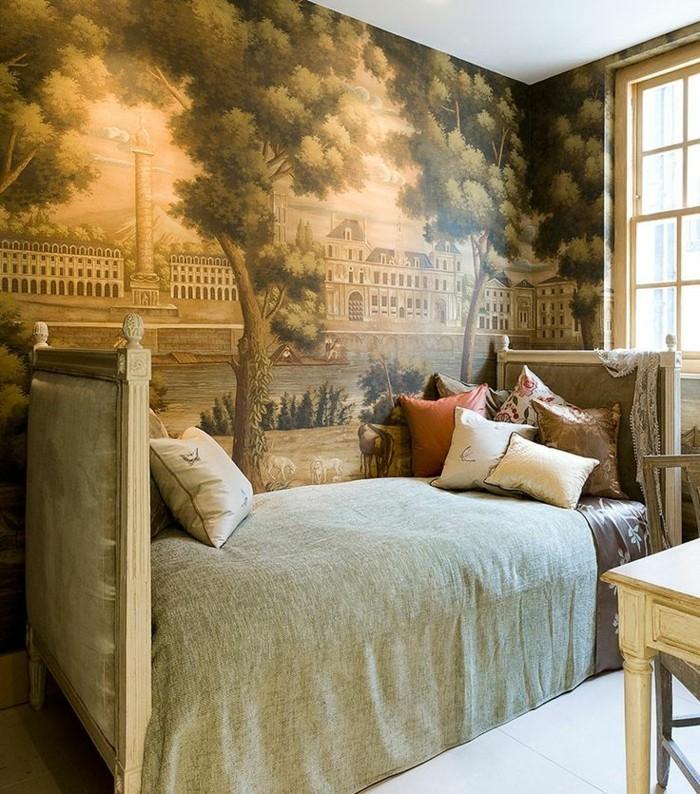 ausgefallene-tapeten-im-Schlafzimmer-vintage-Flair-aristokratische-Atmosphäre