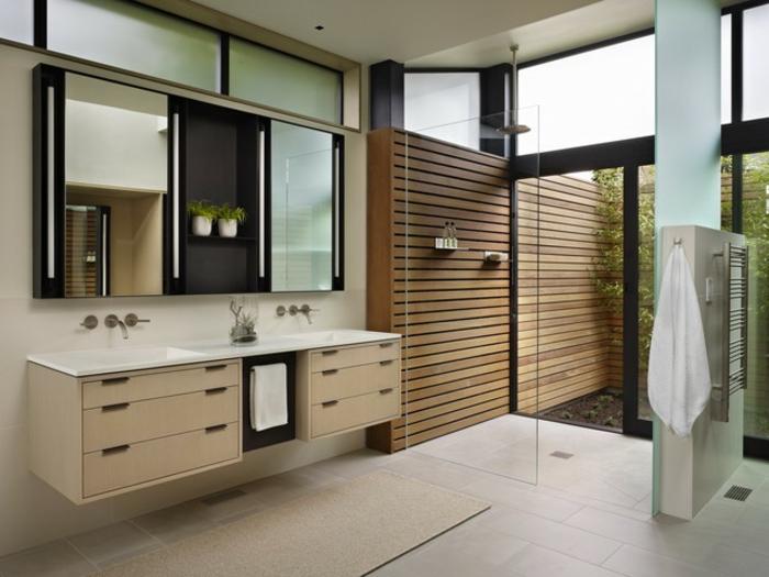 Badezimmer Dekorieren Dunkle Gestaltung Hölzernes Modell