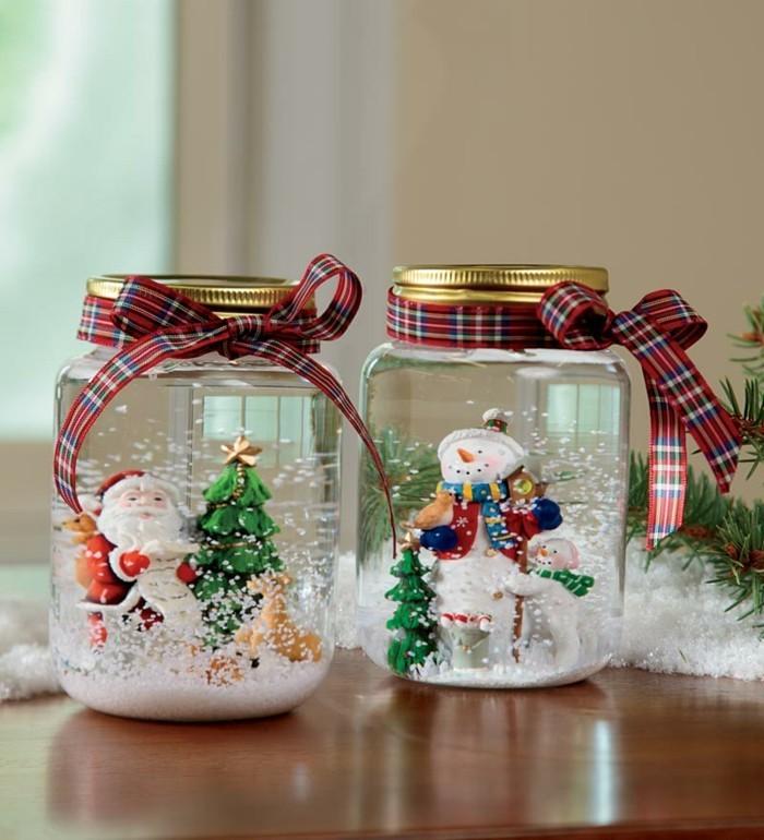 bastelideen-für-weihnachten-süße-schneemänner-und-häuser-in-bechern