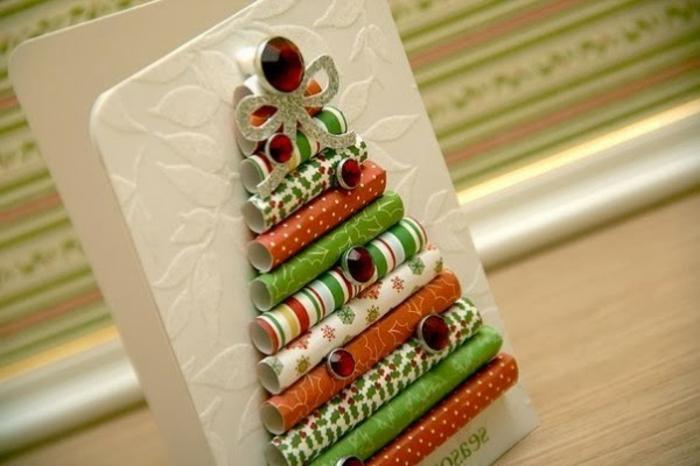 bastelideen-zum-weihnachten-interessante-weihnachtskarte-mit-einem-originellem-weihnachtsbaum