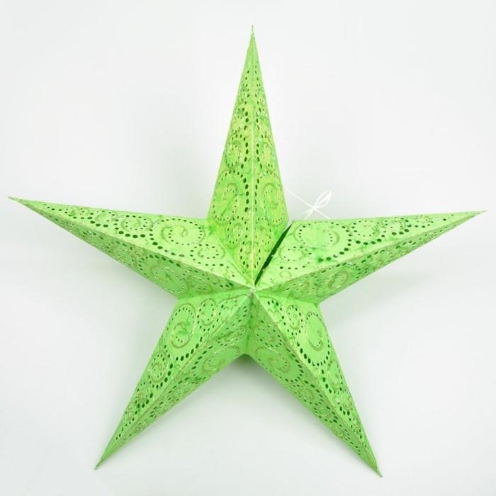 bastelideen-zum-weihnachten-interessanter-grüner-stern-an-der-wand