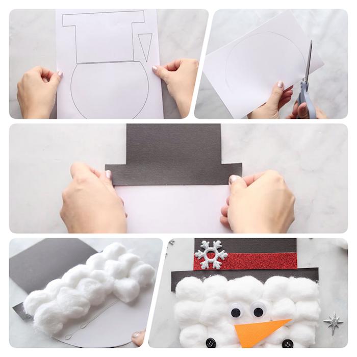 Schneemann aus Papier ausschneiden, Watte aufkleben, Wackelaugen und Nase aus Papier kleben
