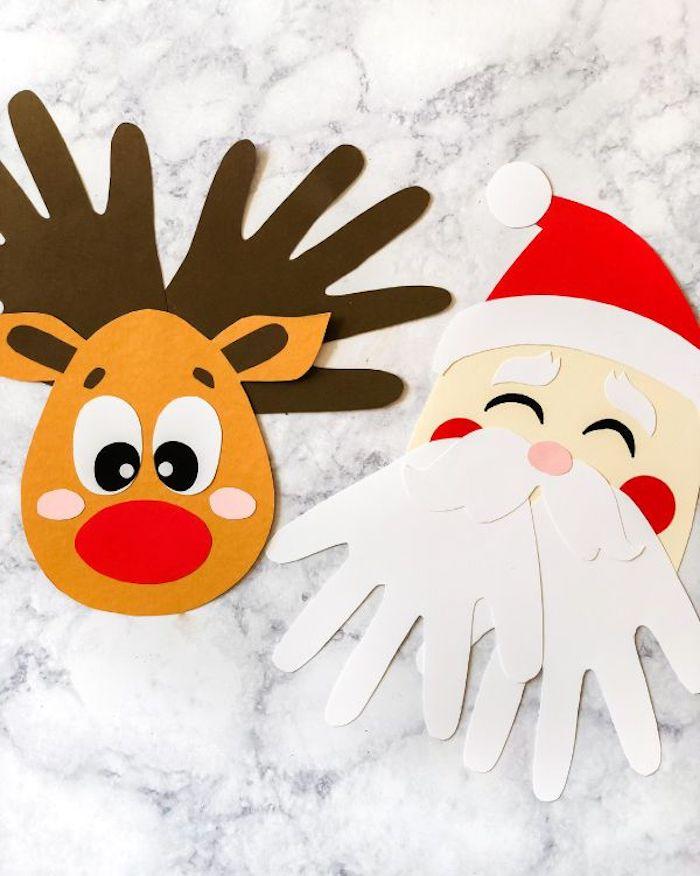 Weihnachtsmann und Rentier aus Karton basteln, Handabdrücke für Hörner und Bart, einfache weihnachtsbasteleien