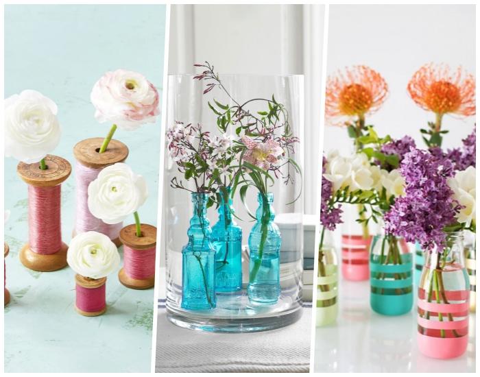 blumen tischdeko, weiße blüten, blaue glasflaschen, große vase, rosa kordel, deko selber machen